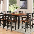 9PC Parfait Counter Height Table w/8 Wooden Seat Chairs in Black & Cherry Brown. SKU: PFH9-BLK-W