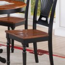 Set of 2 Plainville dinette dining chairs with wooden seat in Black & Cherry Brown, SKU: PVC-BLK-W