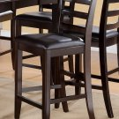 Set of 2 Fairwinds counter height chairs, bar stool with leather seat in cappuccino. SKU: FAS-CAP-LC