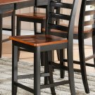 Set of 2 Parfait counter height chairs, bar stool with wood seat Black & Cherry. SKU: PFHC-BLK-W2