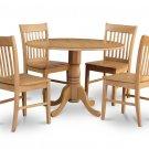 5PC dinette kitchen set round table drop leaf + 4 wooden seat chairs in OAK. SKU: DNO5-OAK-W