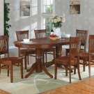 7PC Vancouver Dinette Dining Set, Oval Table with 6 Wood Seat Chairs Espresso, SKU: VANC7-ESP-W