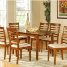 7PC Picasso Dinette Kitchen Dining Set, Table and 6 Microfiber Padded Chairs in Saddle Brown