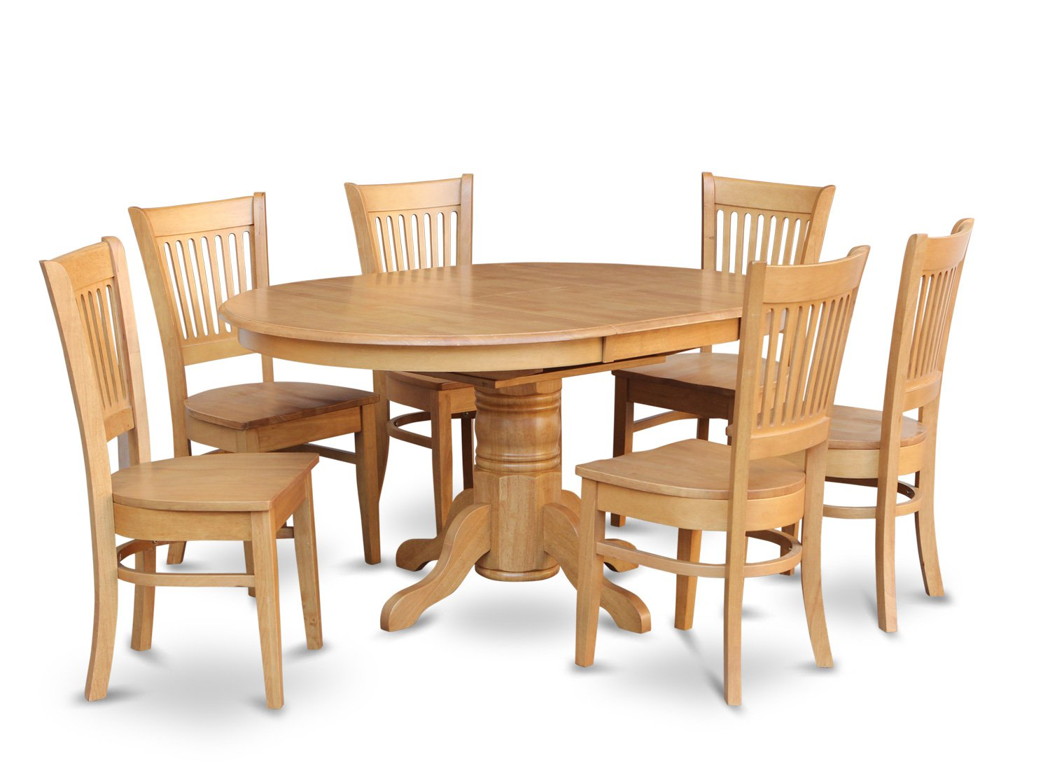 7 PC Dinette Kitchen Dining Set Oval Table with 6 Wood