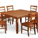 9-PC Parfait Square Dining Set, Table with 8 wood seat Chairs in Saddle Brown. SKU: PF9-SBR-W