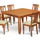 5Pc Square Parfait Dining Table with 4 Avon Padded Chairs in Saddle Brown. SKU: PFAV5-SBR-C