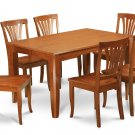 7Pc Square Parfait Dining Table with 6 Avon Wood Seat Chairs in Saddle Brown. SKU: PFAV7-SBR-W