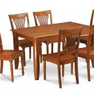 7Pc Square Parfait Dining Table with 6 Plainville Wood Seat Chairs in Saddle Brown. SKU: PFPL7-SBR-W