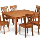 9Pc Square Parfait Dining Table with 8 Plainville Wood Seat Chairs in Saddle Brown. SKU: PFPL9-SBR-W