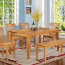 6PC RECTANGULAR DINETTE DINING SET TABLE & 4 WOOD SEAT CHAIRS AND 1 BENCH  IN OAK. SKU: CNO6-OAK-W