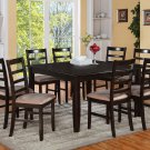 """7PC Square Dining Table 54x54x30"""" with 6 Microfiber Cushioned Chairs in Cappuccino. SKU: FL7-CAP-C"""