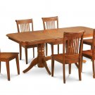 7PC Rectangular Dining Table with 6 Portland Wood Seat Chairs in Saddle Brown. SKU: NAPO7-SBR-W