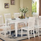 7PC Weston Set Rectangular Dinette Dining Table + 6 Wood Seat Chairs in Linen White SKU: WT7-WHI-W