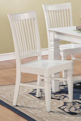 Set of 10 Weston kitchen dining chairs with plain wood seat in linen white finish, SKU: WC-WHI-W