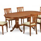 7PC Set Plainville Dining Table & 6 Avon Microfiber Padded Chairs in Saddle Brown. SKU: PLAV7-SBR-C