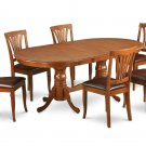 7PC Set Plainville Dining Table & 6 Avon Leather Seat Chairs in Saddle Brown. SKU: PLAV7-SBR-LC