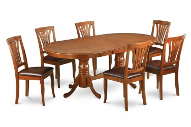 9PC Set Plainville Dining Table & 8 Avon Leather Seat Chairs in Saddle Brown. SKU: PLAV9-SBR-LC