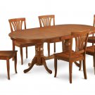 7PC Set Plainville Dining Table & 6 Avon Wood Seat Chairs in Saddle Brown. SKU: PLAV7-SBR-W