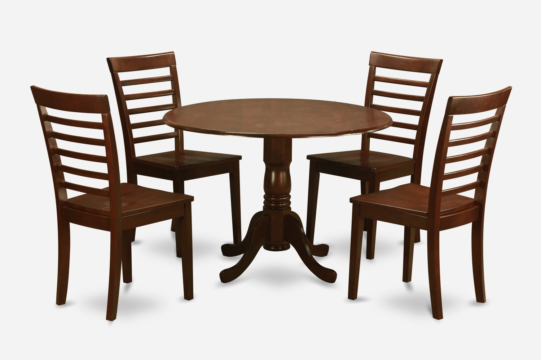 5pc Dublin Round Table W Drop Leaf 4 Milan Wood Seat