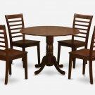 5PC Dublin round table w/ drop leaf +4 Milan wood seat chairs in mahogany. SKU: DMI5-MAH-W