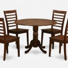 3PC Dublin round table w/ drop leaf +2 Milan wood seat chairs in mahogany. SKU: DMI3-MAH-W