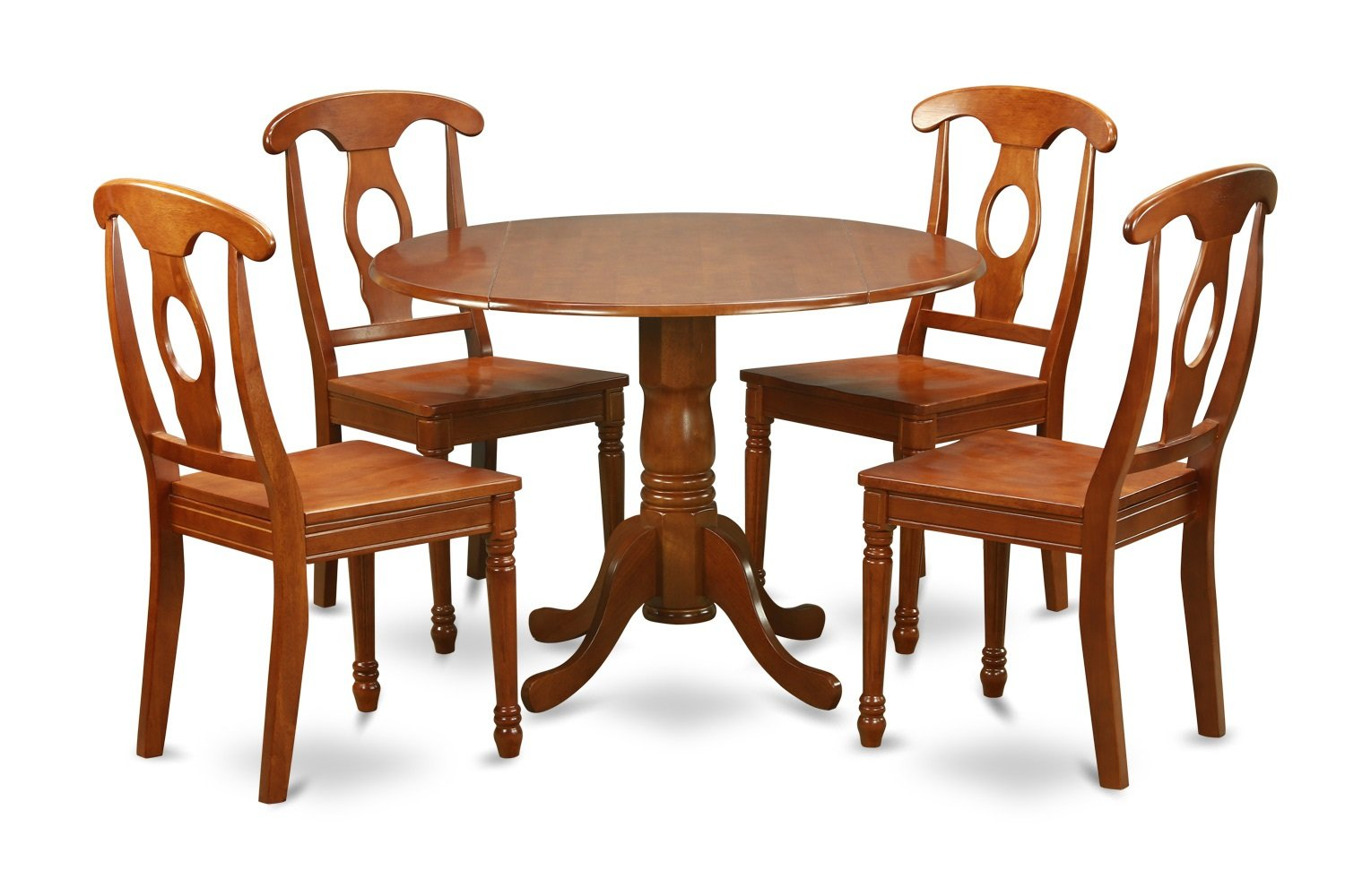 5pc Dublin Round Table W 2 Drop Leaves 4 Napoleon Wood