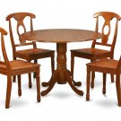 5PC Dublin round table w/2 drop leaves +4 Napoleon wood seat chairs, saddle brown. SKU: DNA5-SBR-W