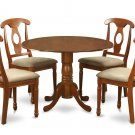 5PC Dublin round table w/2 drop leaves +4 Napoleon padded chairs in saddle brown. SKU: DNA5-SBR-C