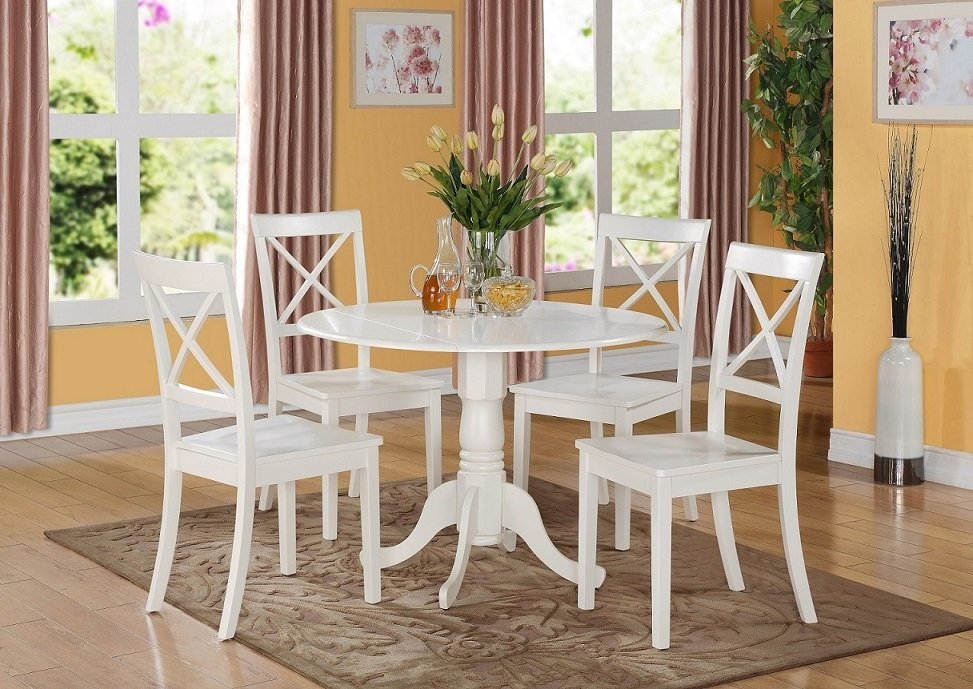 5PC Dublin round table w/2 drop leaves &4 Boston wood seat chairs in Linen White. SKU: DLBO5-WHI-W
