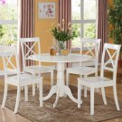 3PC Dublin round table w/2 drop leaves &2 Boston wood seat chairs in Linen White. SKU: DLBO3-WHI-W