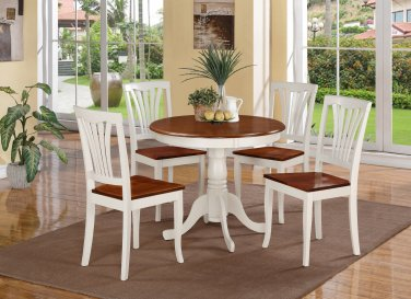 5PC Antique round table with 4 Avon wood seat chairs in Buttermilk & Cherry Brown. SKU: ANAV5-WHI-W