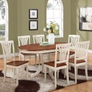 5-PC Avon Oval Dining Set table & 4 Chairs in Buttermilk & Cherry Brown. SKU#: AVON5-WHI-W