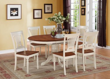 5-PC Kenley Oval Dining table + 4 Plainville Chairs in Buttermilk & Saddle Brown. SKU: KEPL5-WHI-W