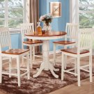 5-PC Jackson Round Counter Height table & 4 Vernon Chairs in Buttermilk & Cherry. SKU: JAVN5-WHI-W