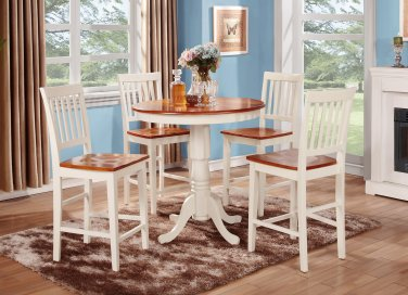 3-PC Jackson Round Counter Height table & 2 Vernon Chairs in Buttermilk & Cherry. SKU: JAVN3-WHI-W