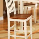SET OF 2 VERNON COUNTER HEIGHT CHAIRS w/ WOOD SEAT IN BUTTERMILK CHERRY, SKU# VNS-WHI-W