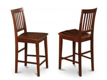 SET OF 2 VERNON COUNTER HEIGHT WOOD CHAIRS IN MAHOGANY, SKU# VNS-MAH-W