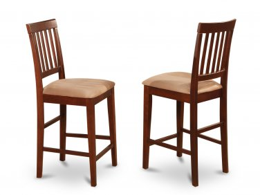 SET OF 2 VERNON COUNTER HEIGHT MICROFIBER UPHOLSTERED CHAIRS IN MAHOGANY, SKU# VNS-MAH-C