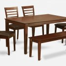 6PC SET CAPRI TABLE w/ 4 MILAN LEATHER CHAIRS & 1 WOOD SEAT BENCH IN MAHOGANY SKU# CAML6C-MAH-LC