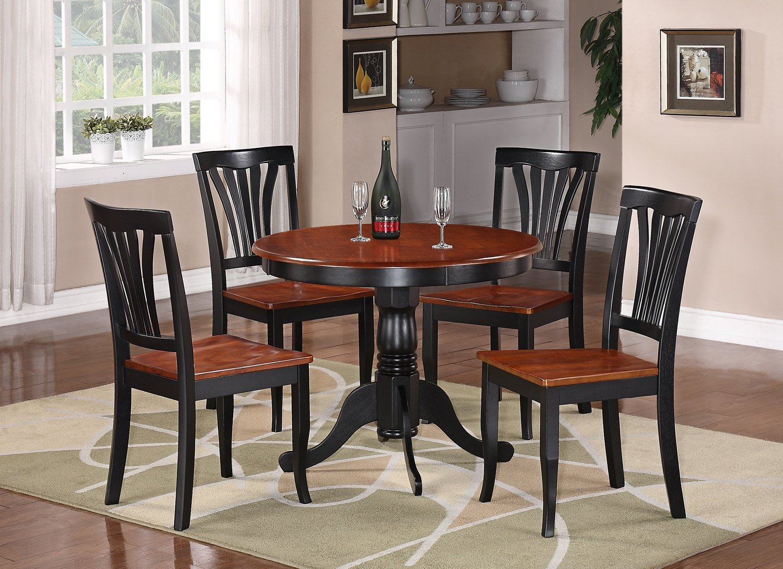 3pc antique round kitchen table  2 avon wood seat chairs