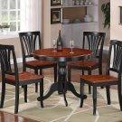 3PC Antique Round Kitchen Table + 2 Avon Wood Seat Chairs Black & Saddle Brown SKU# ANAV3-BCH-W