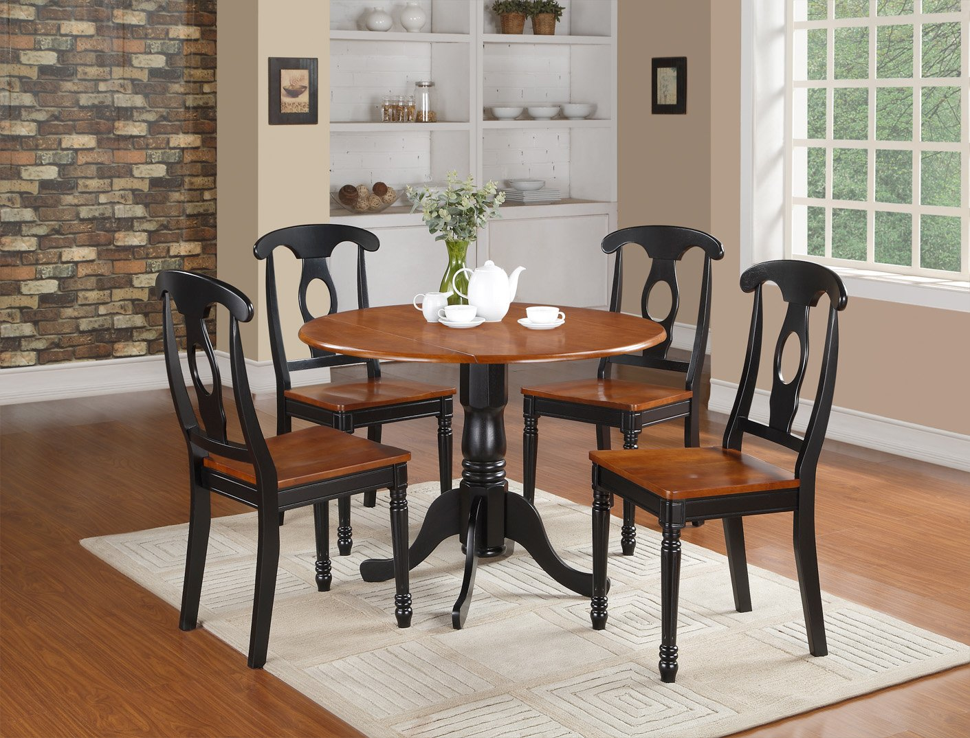 5pc Dublin Round Table W 2 Drop Leaves 4 Kenley Wood Seat