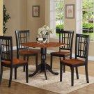 5PC Dublin round table w/2 drop leaves + 4 Nicoli wood seat chairs, Black & Cherry. SKU: DLNI5-BCH-W