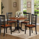 3PC Dublin round table w/2 drop leaves &2 Nicoli wood seat chairs, Black & Cherry. SKU: DLNI3-BCH-W