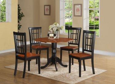 3PC Dublin round table w/2 drop leaves &2 Nicoli wood seat chairs, Black & Cherry. SKU: DLNI3-BCH-W