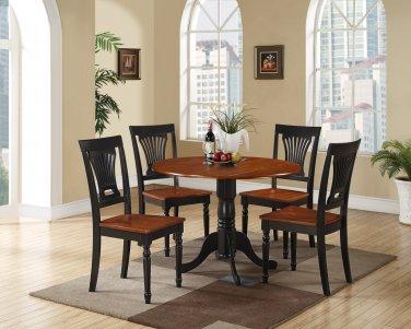 3PC Dublin round table w/2 drop leaves & 2 Plainville chairs, Black & Cherry SKU: DLPL3-BCH-W