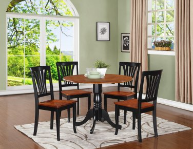 3PC Dublin round table w/2 drop leaves &2 Avon chairs, Black & Cherry. SKU: DLAV3-BCH-W