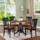 5PC Dublin round table w/2 drop leaves &4 Avon chairs, Black & Cherry. SKU: DLAV5-BCH-W