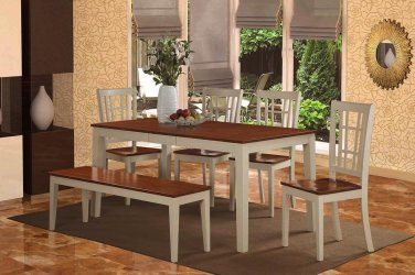 6-PC Nicoli Dining Table with 4 Wood Seat Chairs & 1 Bench in Buttermilk & Cherry. SKU#:NICO6-WHI-W