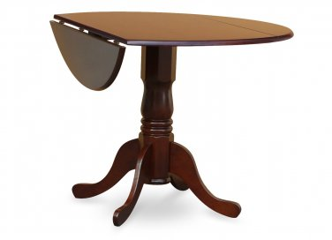 "42"" Round Dublin drop-leaf pedestal kitchen table without chair in mahogany SKU# DLT-MAH-TP"